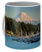 Gig Harbor Marina With Mount Rainier In The Background Coffee Mug