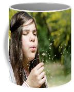 Girl Blowing Dandelion Flower Coffee Mug