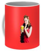 Glamorous Woman Holding Popcorn Coffee Mug