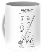 Golf Club Patent Drawing From 1910 On Vintage Background Coffee Mug by David Millenheft