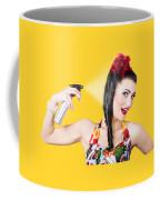 Haircare. Brunette Pinup Woman Using Hair Product Coffee Mug