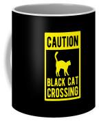 Halloween Shirt Caution Black Cat Crossing Gift Tee Coffee Mug