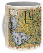 Historical Map Hand Painted Lake Superior Norhern Minnesota Boundary Waters Captain Carver Coffee Mug