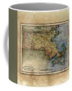 Historical Map Hand Painted Massachussets Coffee Mug