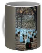Holiday Wreaths At National Cemetery Coffee Mug by Tom Singleton