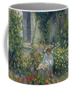 Julie And Ludovic-rodolphe Pissarro Among The Flowers, 1879 Coffee Mug