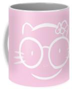 Kawaii Hello Kitty In Large Nerdy Glasses On Bright Pink Backgro Coffee Mug