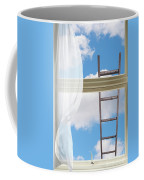 Ladder Against Window Pane Coffee Mug