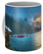 Lake Louise Canoes In The Morning Coffee Mug