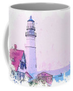 Lighthouse, Cape Elizabeth, United States -  Watercolor By Ahmet Asar Coffee Mug