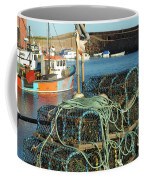 lobster pots and trawlers at Dunbar harbour Coffee Mug