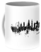 London Black And White Watercolor Skyline Silhouette Coffee Mug
