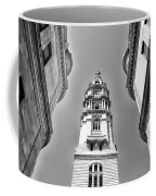 Looking Up - City Hall Court Yard In Black And White Coffee Mug
