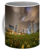 Low Angle Picture Of Downtown Chicago Skyline During Winter Nigh Coffee Mug