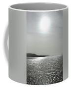 Low Tide Sandy Beach Ripples Silhouetted Against Sun Coffee Mug