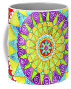 Mandala Of Many Colors On Turquoise Coffee Mug