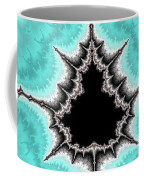 Mandelbrot Fractal Black Aqua White Vertical Coffee Mug