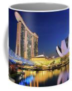 Marina Bay Sands Art Science Museum And Helix Bridge At Dusk Singapore Coffee Mug
