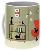 Mid Century Bookcase Room Coffee Mug by Donna Mibus