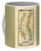 Mississippi River Historic Map Lousiana New Orleans Baton Rouge Map Farming Plantation Hand Painted  Coffee Mug