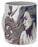 Monument - Red 'n Blue - Sleeping Beauty, Woman With Skyline Tattoo And Bird Coffee Mug