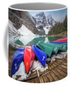 Moraine Lake Canoes Coffee Mug
