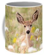 Mule Deer Fawn Lying In Wildflowers Coffee Mug