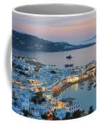 Mykonos Town At Sunset Mykonos Cyclades Greece  Coffee Mug