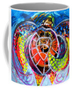Neon Sea Turtle Wake And Drag Coffee Mug