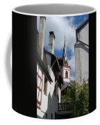 old historic church spire and houses in Ediger Germany Coffee Mug