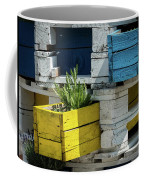 Old Pallet Painted White, Blue And Yellow Used As Flower Pot Coffee Mug