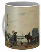 On The Beach At Trouville  Coffee Mug