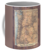 Oregon Washington Historic Map Colton Sepia Map Hand Painted Coffee Mug