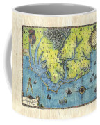 Outer Banks Historic Antique Map Hand Painted Coffee Mug