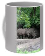 Pair Of Rhinos Standing In The Shade Of Trees Coffee Mug