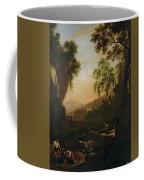 Paisaje Con Familia De Pescadores Al Atardecer   Coffee Mug