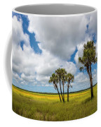 Palm Trees In The Field Of Coreopsis Coffee Mug