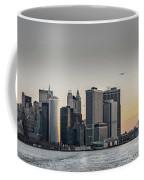 Panoramic View Of Manhattan Island And The Brooklyn Bridge At Su Coffee Mug