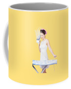Pin Up Woman Providing Steam Clean Ironing Service Coffee Mug