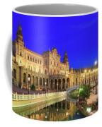 Plaza De Espana At Night Seville Andalusia Spain Coffee Mug