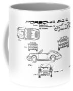 Porsche 911 Patent Drawing Vintage Art Print Coffee Mug by David Millenheft