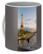 Portrait View Of The Eiffel Tower At Night With Wine Glass In The Foreground Coffee Mug