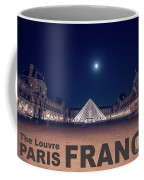 Poster Of  The Louvre Museum At Night With Moon Above The Pyrami Coffee Mug