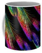 Rainbow Colored Peacock Tail Feathers Fractal Abstract Coffee Mug by Rose Santuci-Sofranko