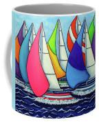 Rainbow Racing Regatta Coffee Mug by Lisa Lorenz