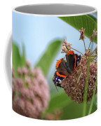 Red Admiral Butterfly On Milkweed Coffee Mug