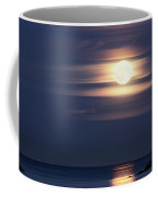 Red Full Harvest Moon Rising Above Pacific Ocean In Autumn Coffee Mug