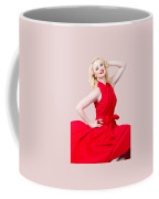 Retro Blond Pinup Woman Wearing A Red Dress Coffee Mug