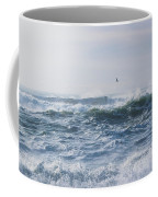 Reynisfjara Seagull Over Crashing Waves Coffee Mug