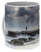 Rock Ledge, Spear Fishermen And Cloudy Seascape Coffee Mug